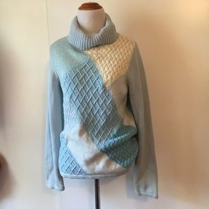Crazy Horse S: M Chunky Turtle Neck Sweater Blue